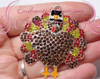48mm Thanksgiving Turkey Cutie With Colorful Autumn Rhinestone Feathers and Black Top Hat *LIMITED SUPPLY*