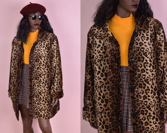 90s Fuzzy Leopard Print Reversible Coat/ Large/ 1990s/ Jacket