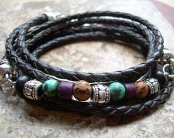 Mens Bracelets Leather Women's Leather Bracelets for Women Leather Wrap Bracelet Braided Leather and Gemstone Bracelet Gift for Him