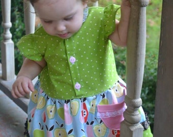 "Lainey Lou Dress PDF Sewing Pattern.  Sizes 0-3 Months - 12, 18"" doll"