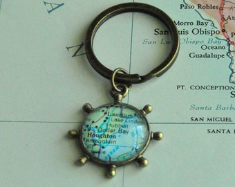 Personalized Father's Day Gift for Dad Gift for Father Personalized Map Keychain Anchor Keychain