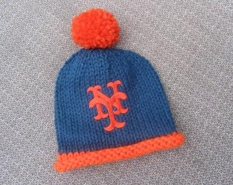NEW YORK METS Hand Knit Baby Hat - Mets Baby Hat - Hand Knitted Baby Hat - Baseball Baby Hat