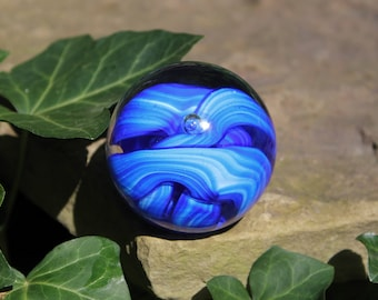 Handmade Glass Paperweight Cobalt Blue and White Swirls with center Bubble