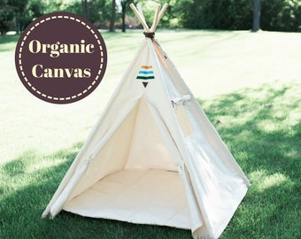 Organic Canvas Kids Teepee with Window, Two Sizes, READY TO SHIP, Natural Play Tent, Tribal Teepee, No Flame Retardants or Other Chemicals