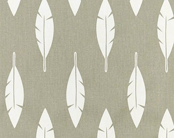 Gray curtains, feather silhouette