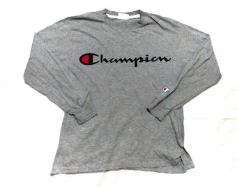 FREE SHIPPING Vintage champion long sleeve big logo medium size