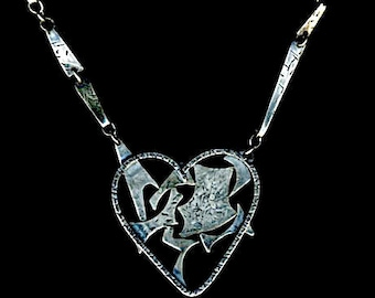 Creepy Heart gothic oxidized silver scary heart necklace