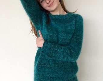 Mohair sweater Emerald green sweater Women's sweater Comfy sweater Made to order
