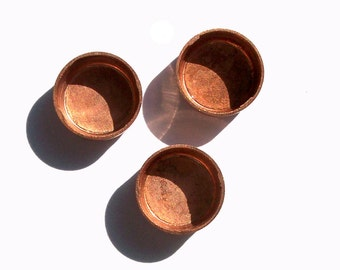 Bezel Cups Copper 9mm Round Solid Copper, 7.7mm Inside Dimension,Copper Findings 3mm tall for Enameling - 6 pieces
