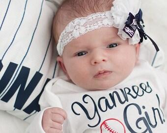 NY Yankees Headband, Yankees Newborn Headband, Yankees Baby Headband, NY Yankees Hair Bow