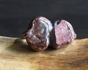 Raw Tourmaline Spinel Crystal Ring Rough Stone Jewelry Midwest Alchemy Small Natural Stone Ring Copper Size 6