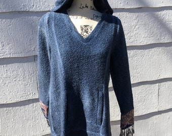 Upcycled Blue Hippie Festival Hoodie