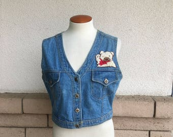 Vintage Teddy Bear Vest Denim Crop Top w/Teddy Bear Patches M-L