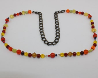 Multicolored glass bead and chain necklace