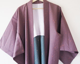 Purple and Blue Vintage Japanese Haori Kimono Jacket