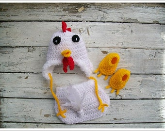 BABY Crochet Pattern, Crochet Pattern - Baby Chicken - Baby Pattern - Newborn Baby - Clothing Set - Photo Prop Pattern - Chicken Hat