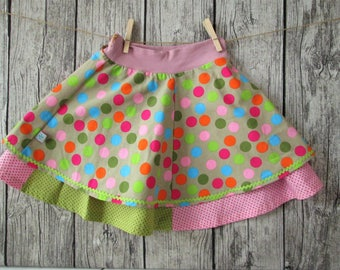 Sweet girl skirt, beige/multi colored/pink, Gr. 122/128