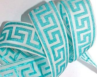 "Ribbon - 1 1/2"" x 3 yds - Greek Key Design Aqua and White - SALE"