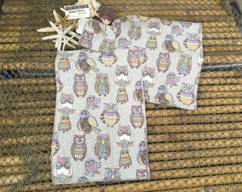 Designer owls burp cloth, wash cloth and receiving blanket ensemble, set, baby gift, baby shower gift, newborn, infant