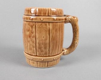 Barrel Mug Ceramic Wood Look Souvenir Mug 1950's Barware