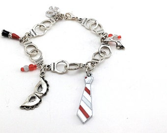 Fifty shades of Grey charms bracelet on cuffs