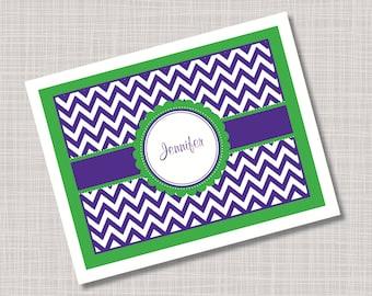 Custom Green & Purple Chevron Note Cards