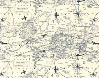 Air Traffic Felix Blue/Natural (Navigator) Canvas Fabric - Canvas - sold by the 1/2 yard