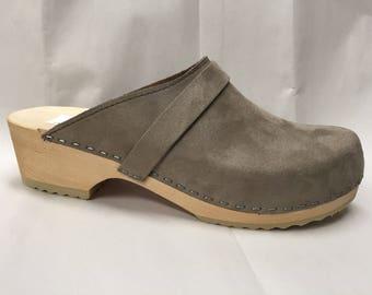 Grey Flocked Suede classic Low heel clog