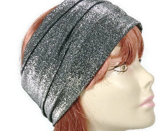 Silver and Black Head Wrap Sparkle Headwrap Silver and Black Head Wrap Flapper Head Wrap Women's Head Wraps FREE SHIPPING/Custom Sizes