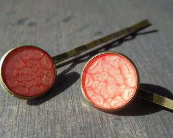 Coral hair pins, bronze frame bobby pins, hair accessory, hair pin, coral hair clip, coral hair jewel