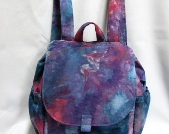 Small backpack- Blue, purple and fuchsia dyed cotton