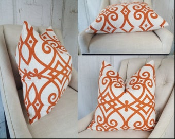 Orange Throw Pillow  Pillow Cover Lumbar Accent Throw Cover Decorative Pillow 18x18 20x20 22x22 24x24 26x26