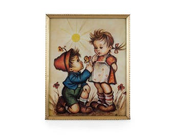 Hummel print glass framed Hummel print Home and living Vintage home decor Children print mid century wall hangings 1960's prints collectable