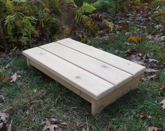 "Solid Cedar Wood Handcrafted Heavy Duty Deck Step or Spa Step, Stool, Patio Door Wooden Platform 14"" x 24"" x 5""h or 6.5"", Natural UNFINISHED"