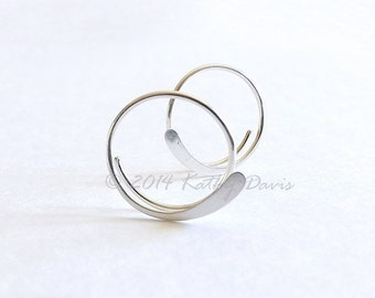 Sterling Silver Open Hoop Earrings Hammered Simple Hoops, Choose Your Custom Size, jewelry gift for her, womens gift