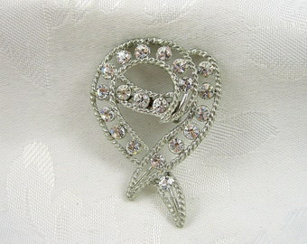Vintage Ribbon Brooch Rhinestone Crystal Silvertone