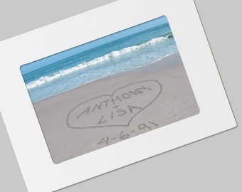 Sand Writing Personalized Beach Card,  FRAMABLE Card,  Custom Valentine's Day Card,  Unique Wedding Card, Anniversary Card, Romantic Gift