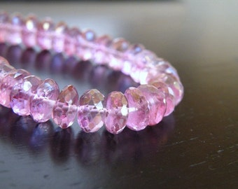 Pink Topaz Gemstone Rondelle Mystic AAA Faceted 7mm 16 beads