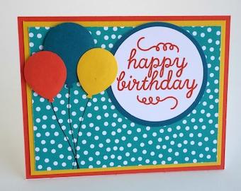 Handmade Balloon and Polka Dots Happy Birthday card, child birthday, teen birthday, blue orange and yellow, cheerful birthday