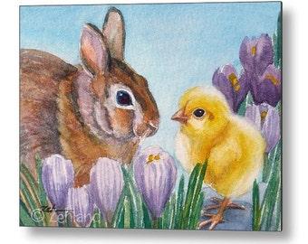 Chicken Bunny Print on Wood, Kids Wall Art, Baby Animals Nursery Decor by Janet Zeh