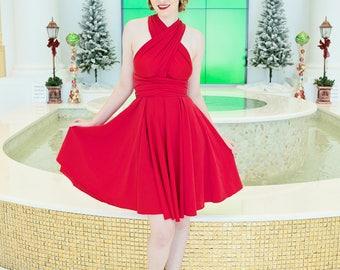 Red Infinity Convertible Dress ... Red Rockabilly Dress  ... 37 Colors... Viva Las Vegas, Pinup, Maternity Dress, Bridesmaids Dress