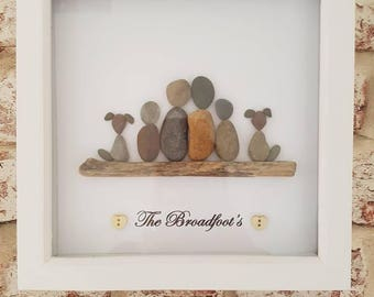 Handmade Personalised family pebble art picture