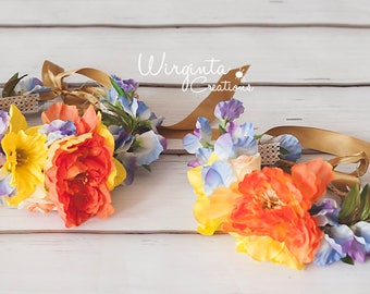 SALE!Mother and daughter flower headpiece/tieback set. Yellow, orange and lilac. Photo prop. Ready to send