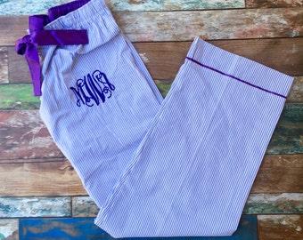 Monogrammed Seersucker Pajama Pants, Monogrammed gifts, Bridesmaid gifts, Monogram Pajama Pants, Bridesmaid Pajamas, Honeymoon Pajamas