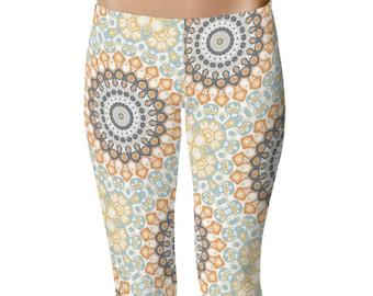 Custom Yoga Leggings, Orange and Blue Funky Tribal Leggings, Kaleidoscopic Gray Mandala Pattern Boho Leggings