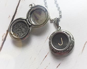 READY TO SHIP Personalized Typewriter Key Initial Locket, Customized Gift Typewriter Jewelry, Recycled Monogram Letter Necklace