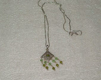 Sterling Silver Peridot Charm with Sterling 16in box Chain