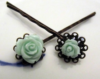 Mommy and me - Mint carved rose hair pin with antique base