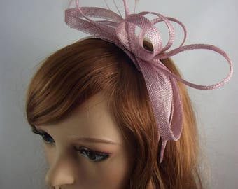 Heather Pink Sinamay Loop & Leaf Fascinator with Feathers - Occasion Wedding Races