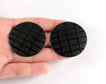 Huge black mat retro earrings with shiny check pattern